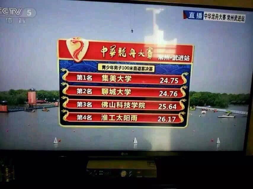 我校龙舟健儿勇夺2015年中华龙舟大赛武进站100米、200米直道2项季军